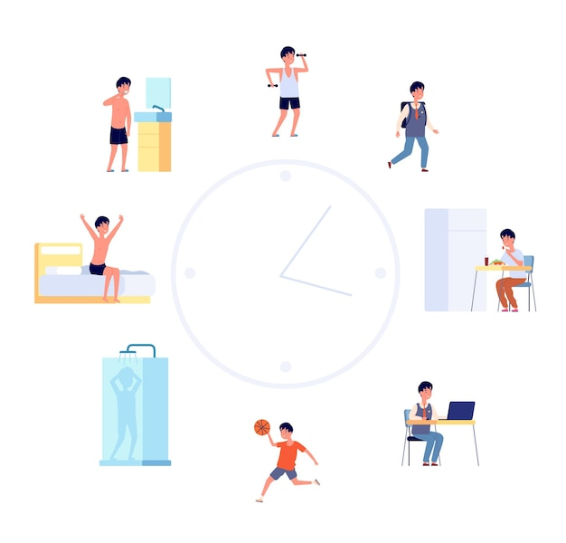 Daily life schedule. cartoon kid routine, boy activities. flat cute child sleeping eating by the clock, baby lifestyle vector illustration. activity and shower, sleeping and eating, morning routine