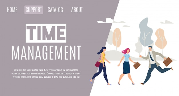 Daily life time management flat vector web banner