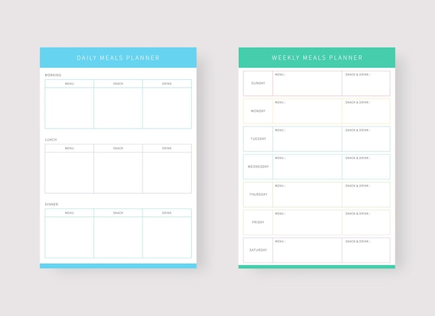 Daily meal and weekly meal planner template set of planner and to do list