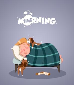 Ежедневная утренняя жизнь. собаки пытаются разбудить хозяина. векторная иллюстрация