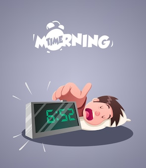 Daily morning life. early morning alarm clock. vector illustration