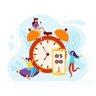 Daily morning man rise under the alarm clock on the phone. charging on the pillow and cheerful mood characters in flat style. vector illustration.