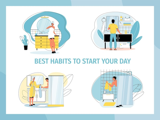 Daily morning routine in bathroom set.