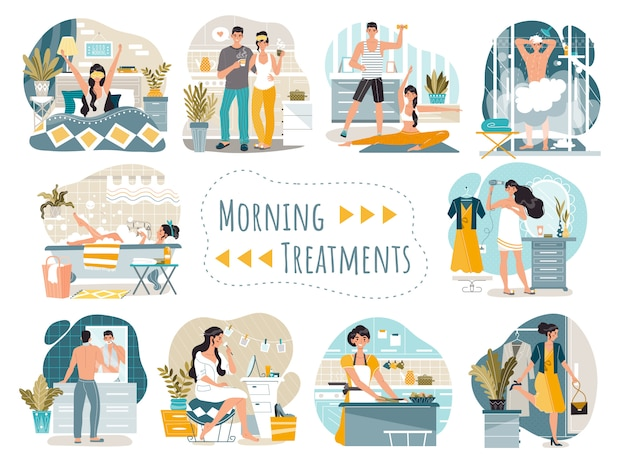 Daily morning routine of man and woman cartoon characters,   illustration