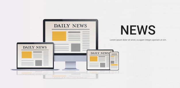 Daily news articles on digital devices screens online newspaper application communication mass media