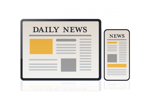 Daily news articles on smartphone and tablet screens newspaper application communication mass media
