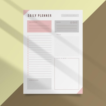 Daily planner card template