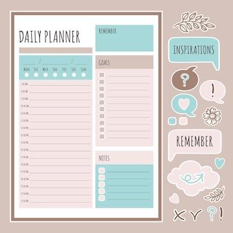 Daily planner 스티커 인쇄 가능한 페이지 템플릿 일정 및 컬렉션