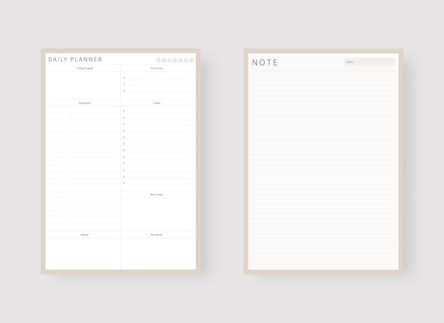 Daily planner template set of planner and to do list modern planner template set