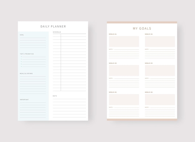 Daily planner template set of planner and to do list