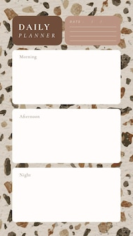Modello di pianificatore giornaliero, sfondo del terrazzo, post di social media estetico, vettore