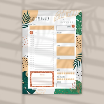Daily planner template with leaves