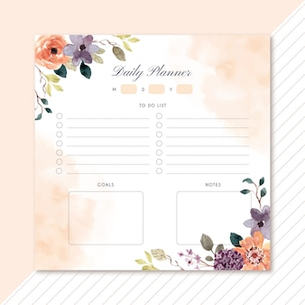 Daily planner with autumn theme floral watercolor