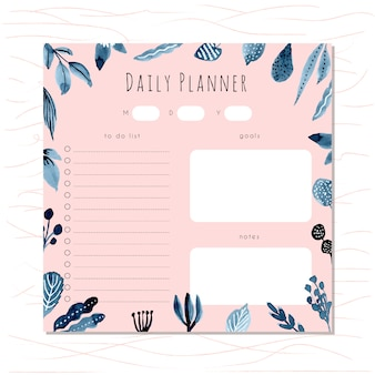 Daily planner with blue foliage watercolor frame