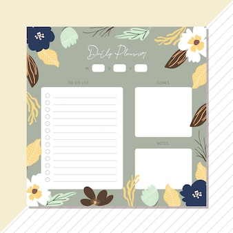 Daily planner with cute floral frame