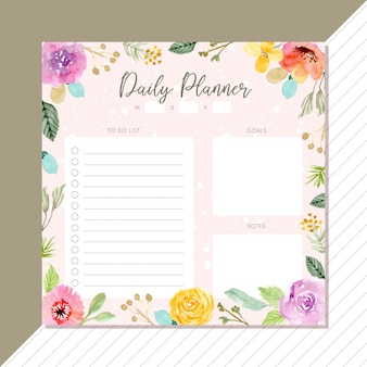 Daily planner with flower watercolor frame background