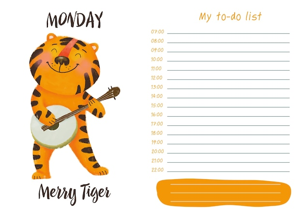 Daily planner with illustration of cute cartoon merry tiger. my day to-do list on monday
