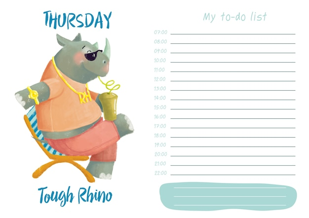 Daily planner with illustration of cute cartoon tough rhino. my day to-do list on thursday