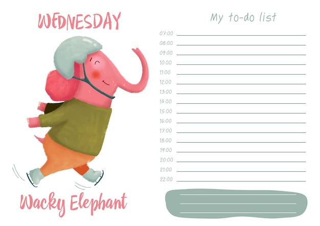 Daily planner with illustration of cute cartoon wacky elephant. my day to-do list on wedne