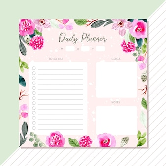 Daily planner with pink green flower watercolor frame