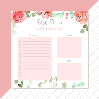 Daily planner with sweet pink floral watercolor border