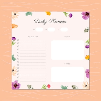 Daily planner with watercolor floral frame