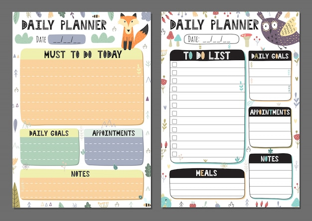 Daily planners collection. to do list set with a cute owl and fox