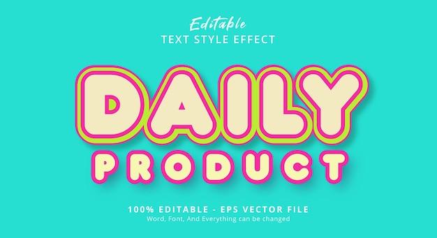 멋진 색상 스타일 효과, 편집 가능한 텍스트 효과가 있는 일일 제품 텍스트
