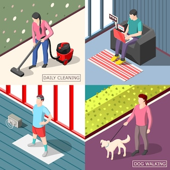 Daily routine 2x2 isometric design concept set of ordinary people walking with dog cleaning doing morning exercises