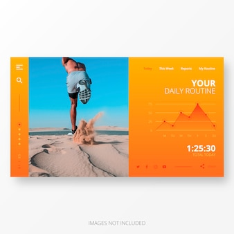 Daily routine app template for computer screen