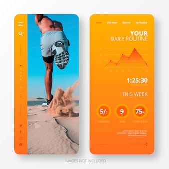 Daily routine app template for mobile screen