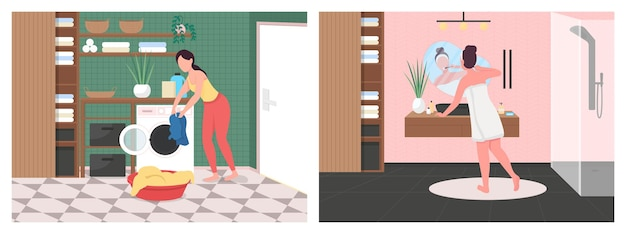 Daily routine in bathroom flat color illustration set