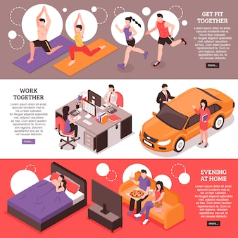 Daily routine for couple isometric horizontal banners fitness and work together evening at home