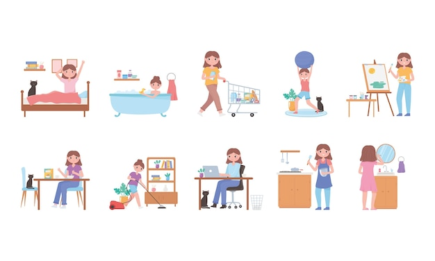 Daily routine, everyday activities scene set, exercising, shopping, cooking, waking up illustration