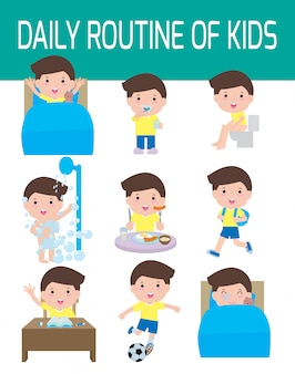 Daily routine of happy kids. infographic element. health and hygiene, daily routines for children,  illustration.