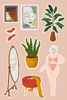 Daily routine life of a girl in lingerie after shower and home stuffs sticker