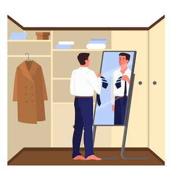 Daily routine of a man. guy dressing up in the wardrobe to go to work. male character putting on his office suit. businessman schedule, modern lifestyle.   illustration in cartoon style