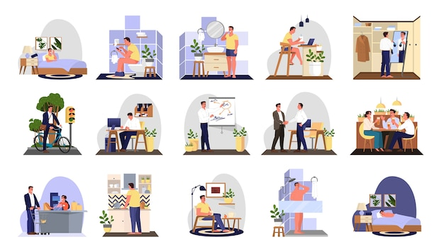 Daily routine of a man set. guy having breakfast in the morning, work and sleep. businessman schedule. working in office on computer.   illustration in cartoon style
