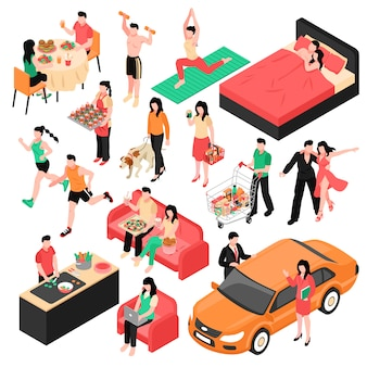 Daily routine man and woman isometric set couple during eating work shopping and sleep isolated illustration