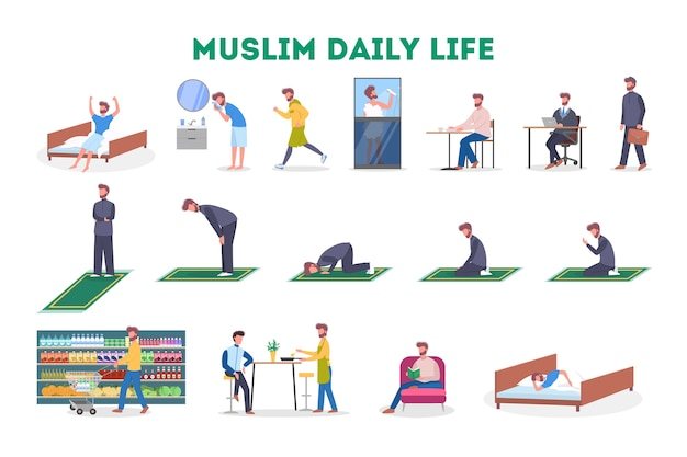 Daily routine of a muslim man set. male character having breakfast in the morning, work, pray and sleep. modern muslim life.   illustration