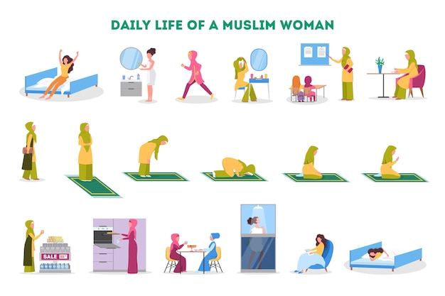 Daily routine of a muslim woman set. female character having breakfast in the morning, work, pray and sleep. modern muslim life.   illustration