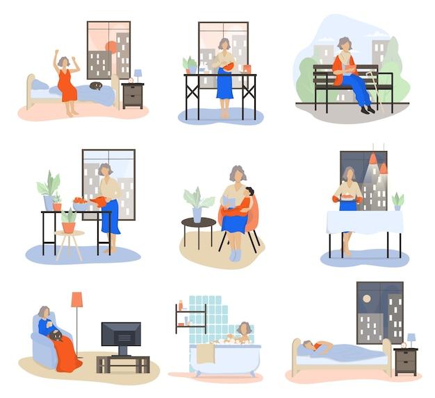 老婆セットの日常。朝焼く、歩く、孫と遊ぶ、休憩する老婦人。歳の女性のスケジュール。漫画のスタイルのイラスト