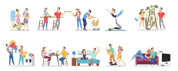 カップルを愛する男女の日常。朝食の調理と体操の夜。ライフスタイルのコンセプト。漫画のスタイルの分離ベクトルイラスト