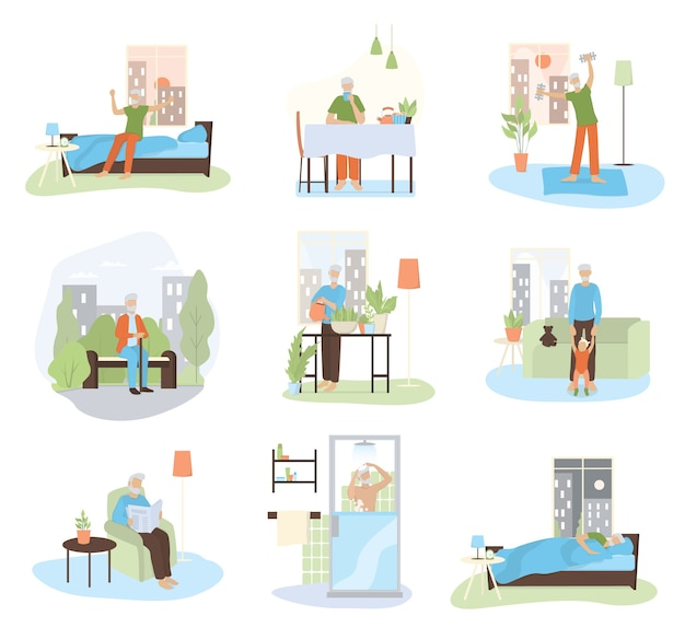 Daily routine of an old man set. old man doing sport, walking, playing with grandchild, resting. old man schedule.   illustration in cartoon style