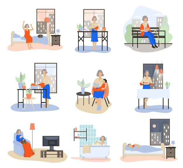 Daily routine of an old woman set. old lady baking in the morning, walking, playing with grandchild, resting. old woman schedule.   illustration in cartoon style