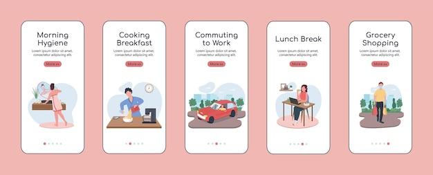 Распорядок дня адаптации плоского шаблона экрана мобильного приложения. готовим завтрак. пошаговое руководство по шагам сайта с персонажами. ux, ui, gui мультяшный интерфейс смартфона