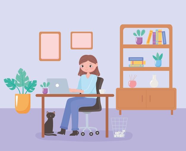 日常のシーン、自宅で猫と一緒に机で働く女性イラストベクトルイラスト