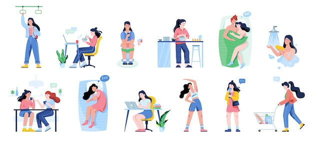 Daily routine of a woman set. girl having breakfast in the morning, work and sleep. businessman schedule. working in office on computer.   illustration in  style