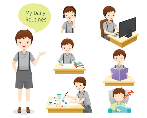 The daily routines of boy, various activities, learning, relaxing