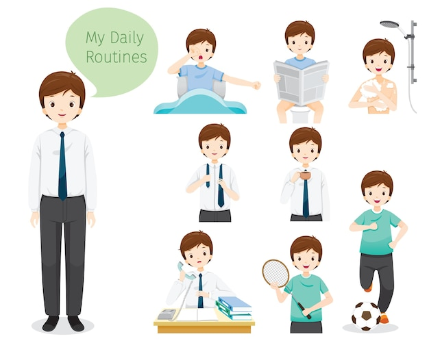 The daily routines of man, various activities, working, relaxing